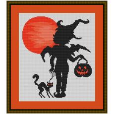 Stickpackung Halloweenengel mit Kater