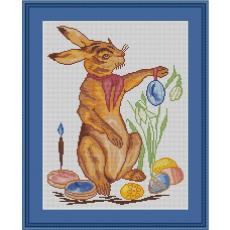 Stickvorlage Osterhasenmaler