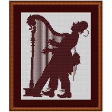 Stickvorlage Harfenspieler
