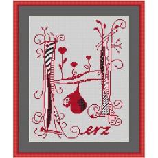 Stickvorlage Herz modern 3, Herzbuchstabe