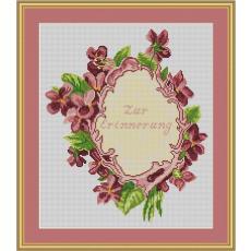 Stickvorlage Blumenrahmen