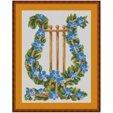 Stickvorlage Blumenharfe blau