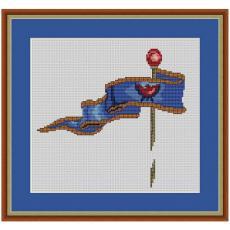 Stickvorlage Flagge 2 blau