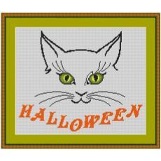 Stickvorlage Halloweenkatze