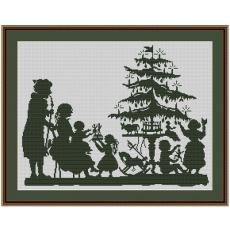 Stickvorlage Weihnachtsbescherung