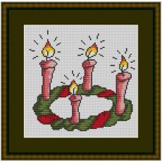 Stickvorlage Weihnachtskranz