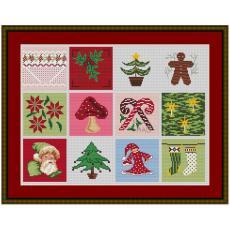 Stickvorlage Verschiedene Weihnachtskissen 12 Stück klein