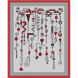 Stickvorlage Dangles schwarz-rot