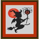 Stickvorlage Halloweenengel auf dem Besen