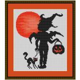 Stickvorlage Halloweenengel mit Kater