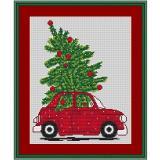 Stickvorlage Weihnachtsauto