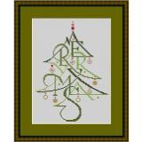 Stickvorlage Merry X-Mas Tanne