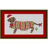 Stickvorlage Dackel Weihnachtsdackel