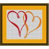 Stickvorlage zwei Herzen