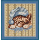 Stickvorlage Kätzchentraum blau