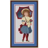 Stickvorlage Mädchen mit Schirm