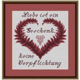 Stickvorlage Spruchherz