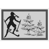 Stickpackung Skifahrer