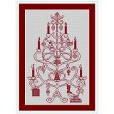 Stickvorlage Weihnachtsbaum rot/weiß