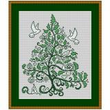 Stickvorlage Weihnachtsilexbaum