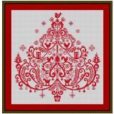 Stickvorlage Weihnachtsvogelbaum
